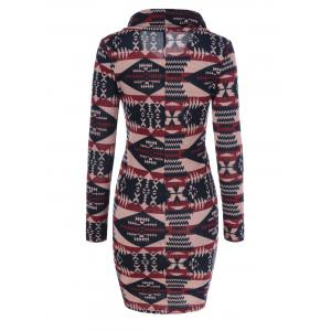 Tribal Pattern Cowel Neck Dress -