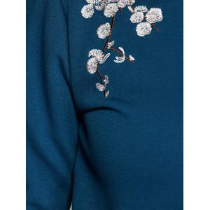 Plus Size Flower Embroidered Sweatshirt - DEEP BLUE XL