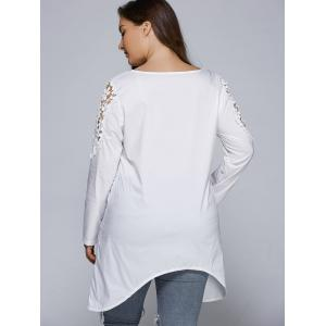 Plus Size Asymmetric Hem Lacework Splicing Top -