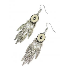 Bohemian Leaf Beads Fringe Chandelier Earrings -