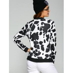 Cow Print Zipper Design Bomber Jacket - BLACK M