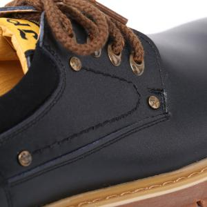 Round Toe Lace Up Vintage Casual Shoes - BLACK 43