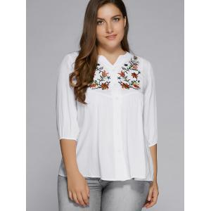 Plus Size Button Fly Floral Embroidered Top - WHITE 5XL