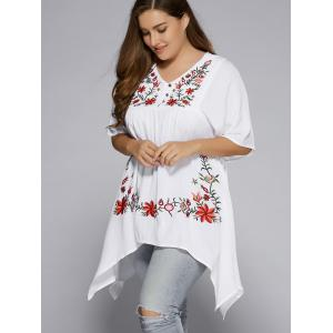 Plus Size Asymmetric Hem Floral Embroidered Top - WHITE 5XL