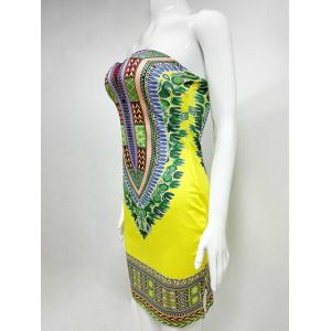 Printed Strapless Bandeau African Tight Dress - YELLOW 2XL
