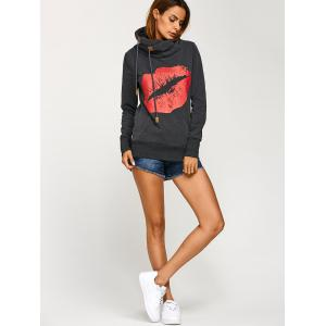 Lip Print Kangaroo Pocket Hoodie - DEEP GRAY XL