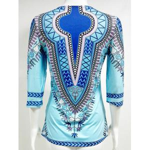 Slit African Printed Blouse - AZURE 2XL