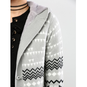 Horn Button Geometric Pattern Cardigan - GRAY XL