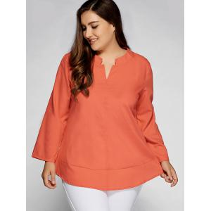 Casual Plain Plus Size Top - BRIGHT RED ORANGE 5XL