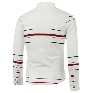 Color Block Stripe Turn-Down Collar Long Sleeve Shirt -