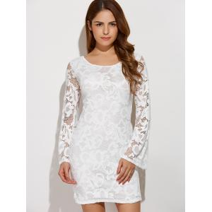 Criss-Cross Lace Long Sleeve Bodycon Dress - WHITE XL