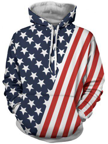 Discount Hooded Stripes and Stars Patterned Hoodies COLORMIX 3XL