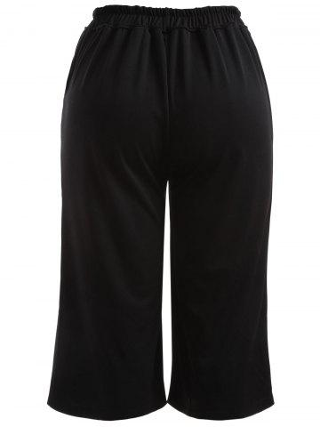 Affordable Plus Size High Waisted Crop Wide Leg Pants - 5XL BLACK Mobile