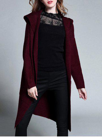Affordable Plus Size Knitted Hooded Duster Cardigan