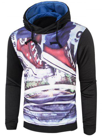 Unique Long Sleeve Drawstring Graphic Hoodie