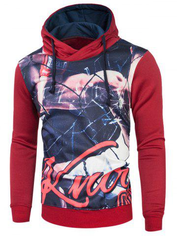 Cheap Long Sleeve Drawstring 3D Printed Hoodie RED 2XL