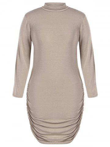 Cheap Plus Size Long Sleeve Knit Ruched Dress KHAKI 6XL
