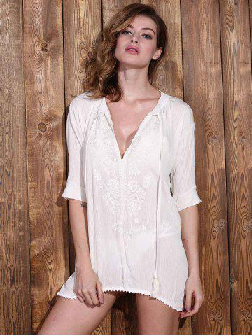 Buy Stylish Plunging Neck Long Sleeve Embroidery Women's Cover Up