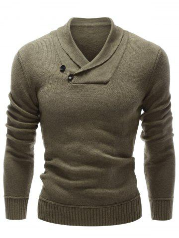 Online Shawl Collar Button Embellished Pullover Sweater OLIVE GREEN XL