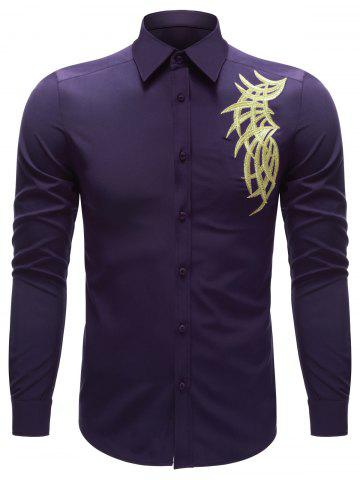 Trendy Embroidered Turn-down Collar Button Up Shirt PURPLE XL