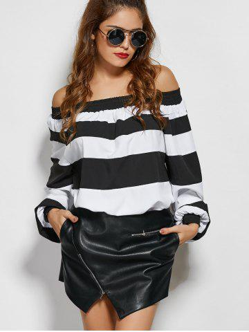 Store Wide Stripe Off The Shoulder Top - S WHITE AND BLACK Mobile