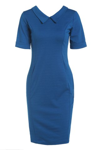 Unique Elegant Flat Collar Solid Color Short Sleeve Bodycon Dress For Women