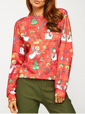 Outfit Angel Snowman Print Sweatshirt RED ONE SIZE