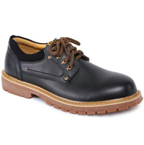 New Round Toe Lace Up Vintage Casual Shoes BLACK 42