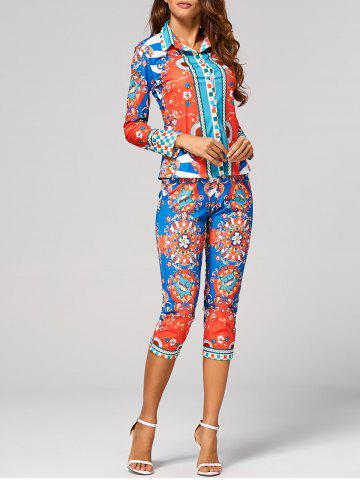 Discount Long Sleeve Print Shirt + Skinny Cropped Pants