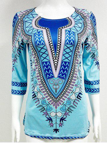 Hot Slit African Printed Blouse AZURE 2XL