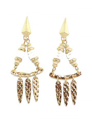 Fashion Hammered Leaf Drop Earrings WHITE