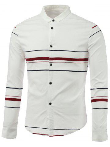 Sale Color Block Stripe Turn-Down Collar Long Sleeve Shirt