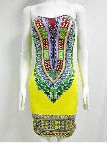 Chic Printed Strapless Bandeau African Tight Dress YELLOW 2XL