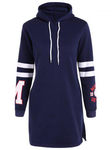 Fashion Letter Patched Hoodie Dress