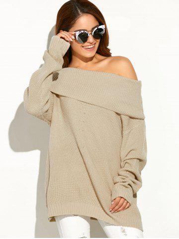 Store Drop Shoulder Ribbed Cowl Neck Sweater APRICOT ONE SIZE