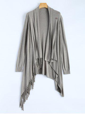 Fashion Plus Size One Tassel Knit Cardigan - ONE SIZE GRAY Mobile