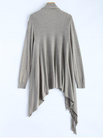Cheap Plus Size One Tassel Knit Cardigan - ONE SIZE GRAY Mobile