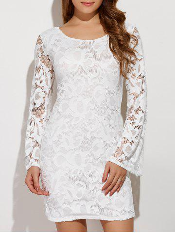 Store Criss-Cross Lace Long Sleeve Bodycon Dress WHITE XL