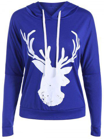 Best Casual Christmas Reindeer Head Pattern Hoodie BLUE XL