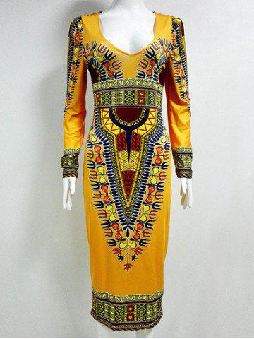 New Tribal Printed  Fitted Plunge Indian Dress DEEP YELLOW 2XL