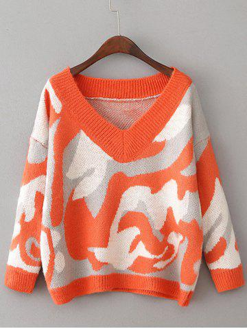 Online Drop Shoulder Camouflage Pattern Sweater ORANGE RED ONE SIZE
