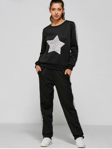 Cheap Slivery Star Sequin Sweatshirt and Panel Pants BLACK XL