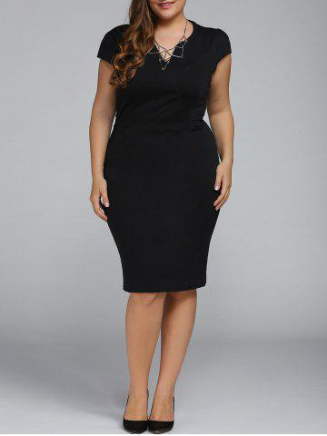 Outfits Plus Size Cap Sleeve Sheath Party Dress BLACK 2XL