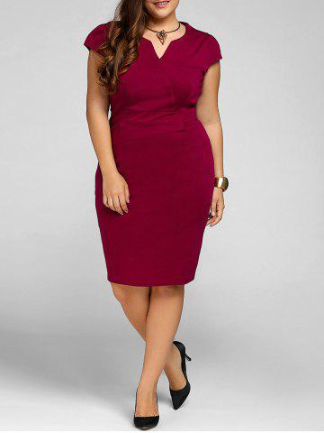 Chic Plus Size Cap Sleeve Sheath Party Dress WINE RED XL