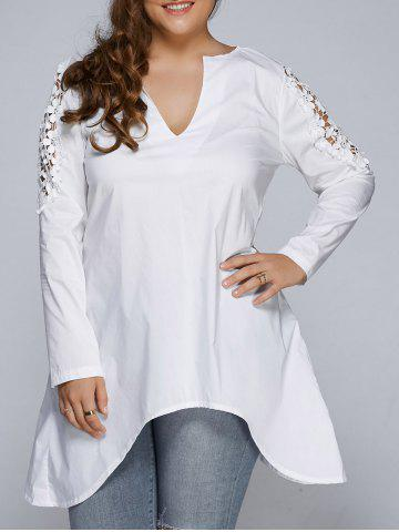 Plus Size Asymmetric Hem Lacework Splicing Top - White - Xl