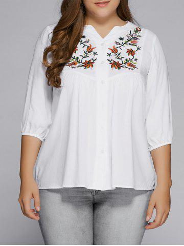 Cheap Plus Size Button Fly Floral Embroidered Top WHITE 5XL