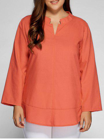 Outfit Casual Plain Plus Size Top BRIGHT RED ORANGE 5XL