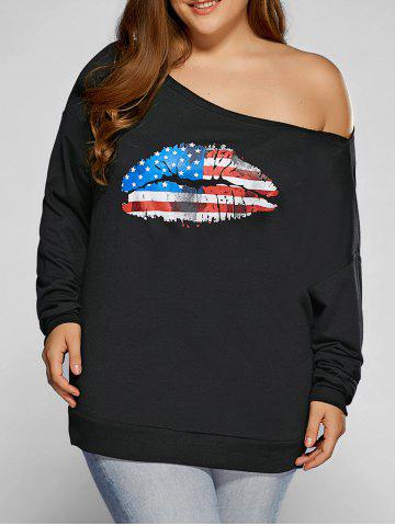 Plus Size American Flag Print Sweatshirt - BLACK 5XL