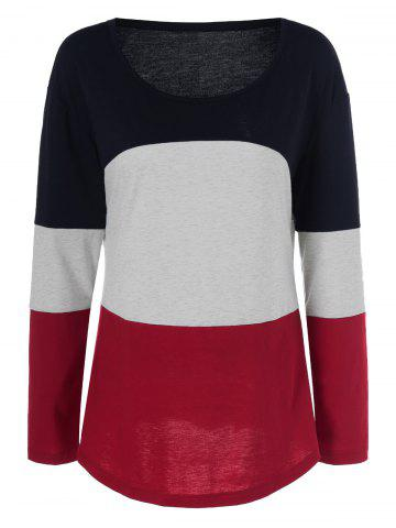 Outfits Plus Size Patchwork Long Sleeve T-Shirt