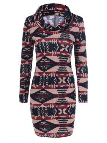 Affordable Tribal Pattern Cowel Neck Dress